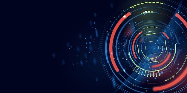抽象的な未来的な青いバナーの背景 Premiumベクター