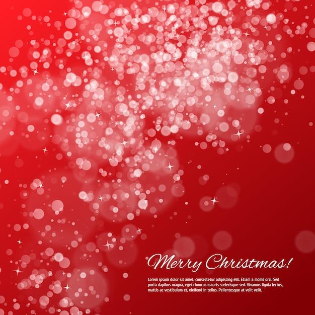 ボケ味と星と赤いクリスマス背景 Premiumベクター