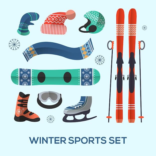 Набор элементов дизайна зимних видов спорта. значок зимних видов спорта в плоском стиле. Premium векторы