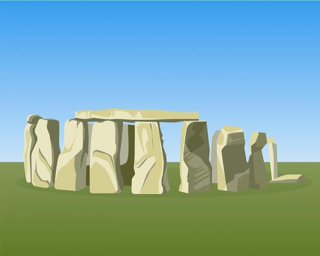 Стоунхендж известный доисторический памятник состоит из кольца стоящих камней Premium векторы