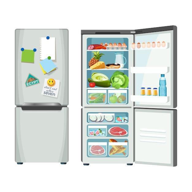 冷蔵庫は閉じていて製品がいっぱい Premiumベクター