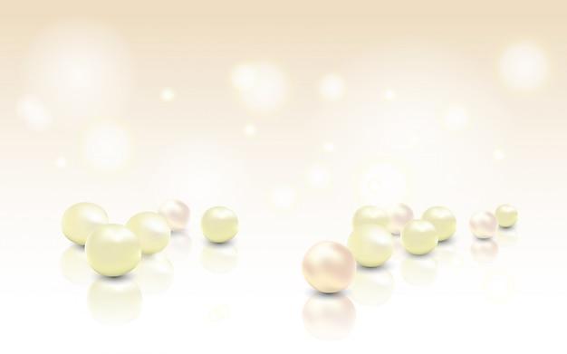 バラ真珠の美しい輝くジュエリー背景 Premiumベクター