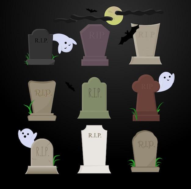 月の下の暗い夜にかわいい幽霊と黒いコウモリの存在下で墓にさまざまな色の墓石。 Premiumベクター