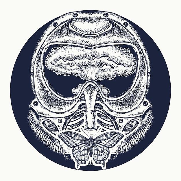 防毒マスクと核爆発のタトゥー Premiumベクター