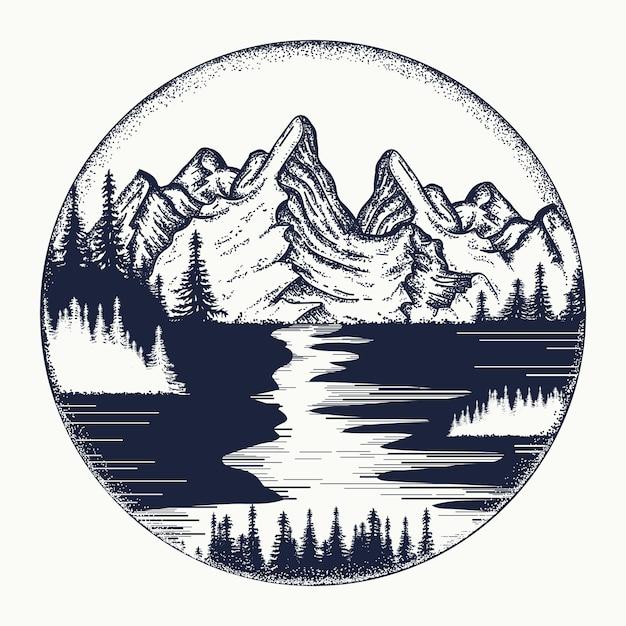 Тату гор и речной пейзаж Premium векторы