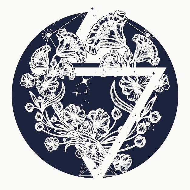 Волшебные цветы в треугольнике Premium векторы