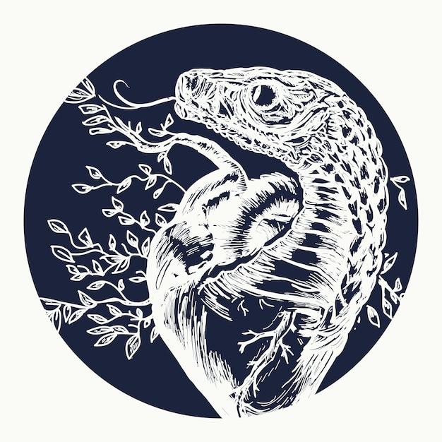 Змея-искуситель искривляет человеческое сердце Premium векторы