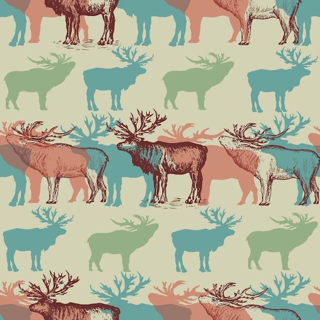 Рождественский фон с оленями на зимнем фоне Premium векторы