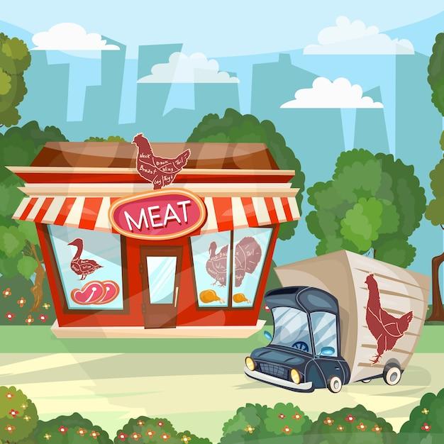 肉屋漫画肉屋店ファサード建物ベクトル Premiumベクター