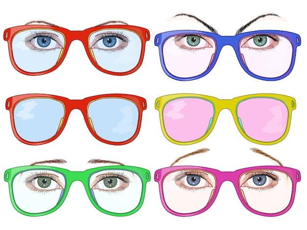 Женские глаза и очки Premium векторы