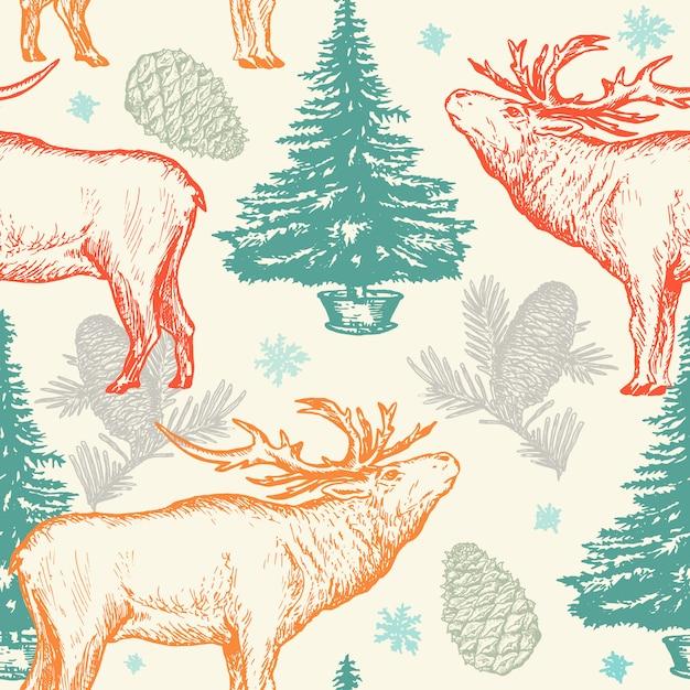 鹿とのクリスマスのパターン Premiumベクター