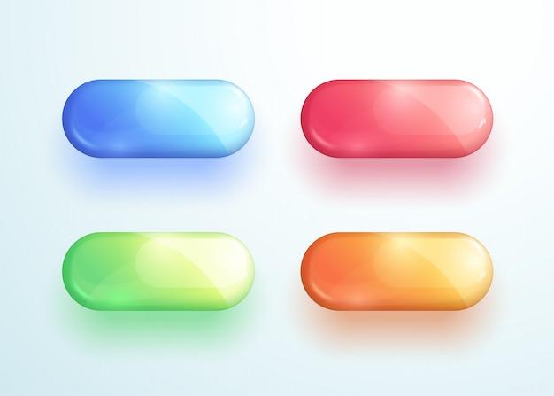 光沢のあるピルボタン形状ベクトル要素セット Premiumベクター