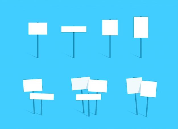 サインポスト空白の白いテキストボックスボードフラットセット Premiumベクター