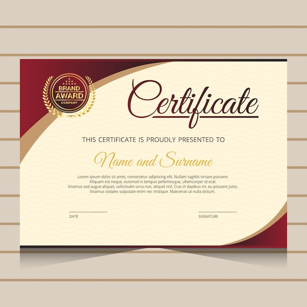Шаблон элегантного диплома Premium векторы