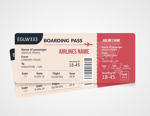 搭乗券のテンプレートデザイン Premiumベクター