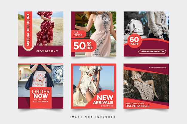 ファッションバナーテンプレートソーシャルメディア Premiumベクター