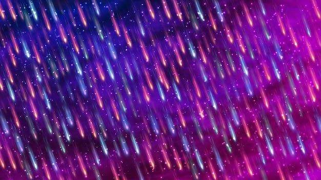 カラフルな鮮やかな背景。星の秋と夜の星空。オーロラ。星でいっぱいの星雲。宇宙。 Premiumベクター