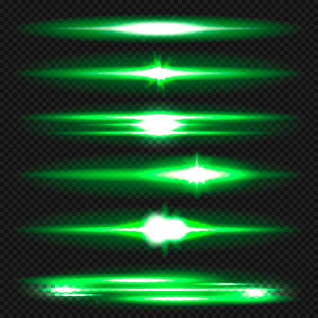 Синие горизонтальные блики. лазерные лучи, горизонтальные световые лучи. Premium векторы