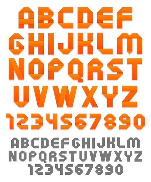 明るいリボンのアルファベットと数字。平らなシルエット。 Premiumベクター