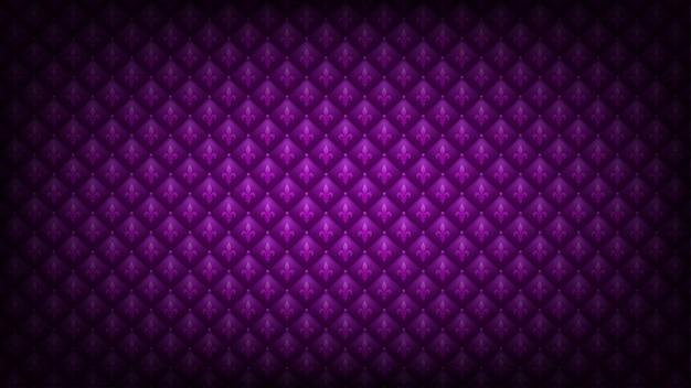 明るい紫色のマルディグラの背景。キルティングのロイヤル高級テクスチャでアヤメシンボル。 Premiumベクター