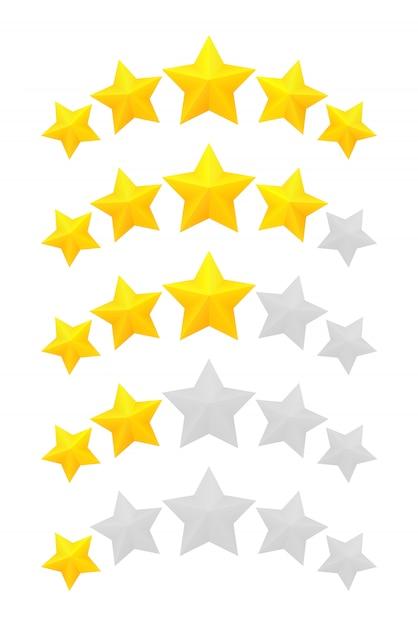Пятизвездочный рейтинг. разные звания от одной до пяти звезд. золотые рельефные и серые прозрачные звезды. Premium векторы