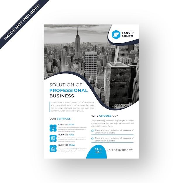 Синий цвет корпоративный листовка дизайн шаблона вектор Premium векторы