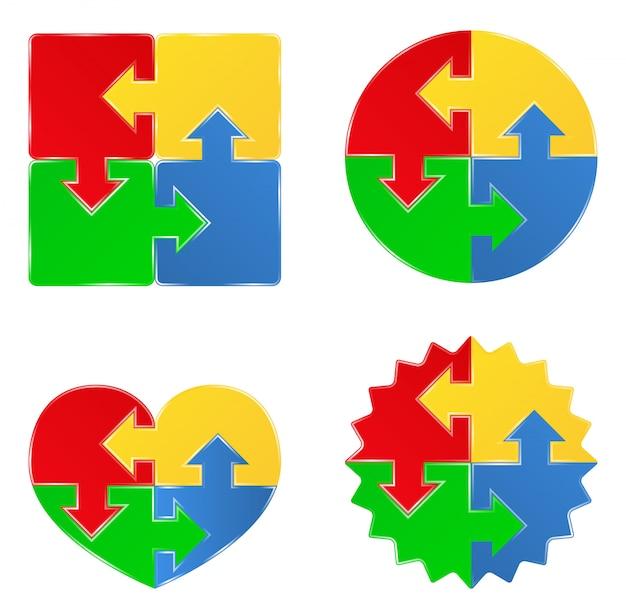 Головоломка объекты в форме квадрата, круга и сердца Premium векторы
