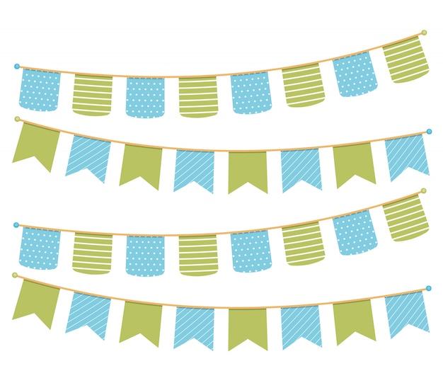 招待状、グリーティングカードなどの装飾のためのさまざまなカラフルな旗布、旗布の旗 Premiumベクター