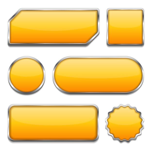 黄色いボタン Premiumベクター