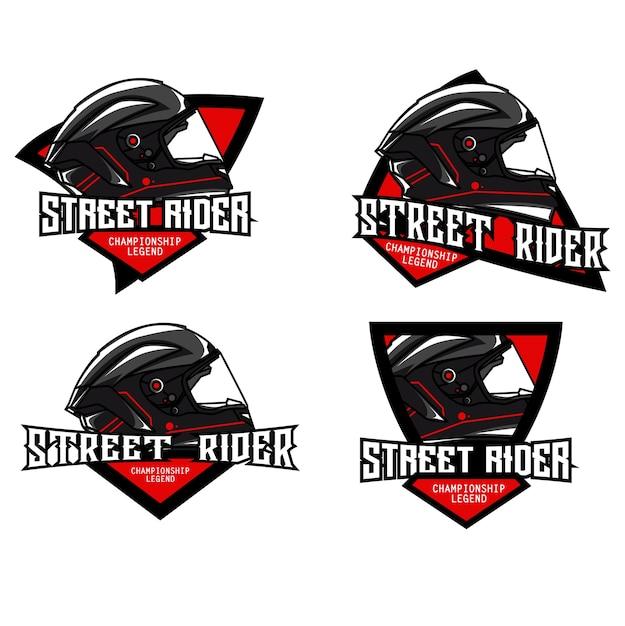 ヘルメットロゴセット Premiumベクター