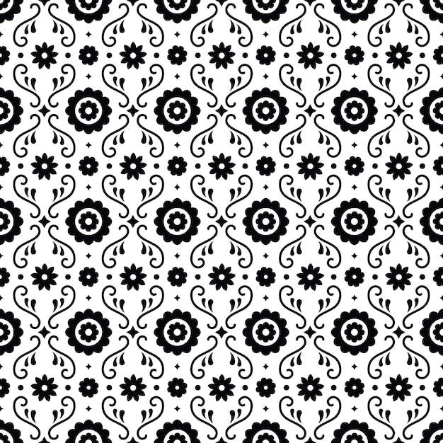Картина мексиканского народного искусства безшовная с цветками на белой предпосылке. традиционный дизайн для фиесты. цветочные декоративные элементы из мексики. мексиканский фольклорный орнамент. Premium векторы