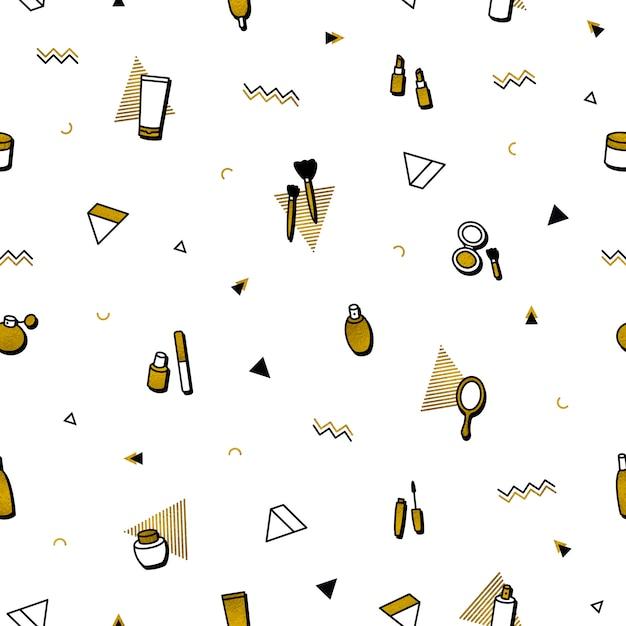 Модный фон. золотая косметика бесшовные модели в стиле мемфиса. Premium векторы