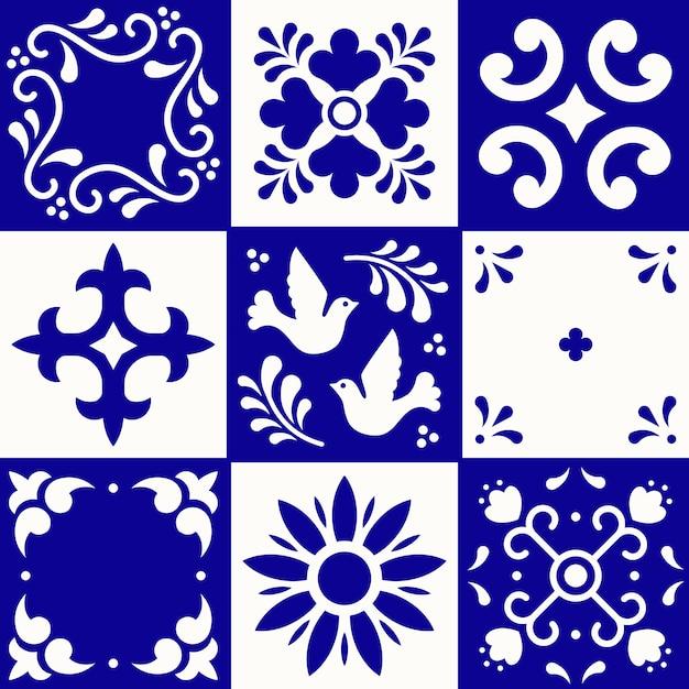Мексиканская картина талавера. керамическая плитка в традиционном стиле из пуэбла. мексика цветочные мозаика в синий и белый. народное искусство . Premium векторы