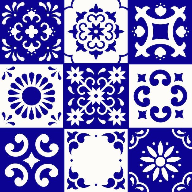 メキシコのタラベラパターン。プエブラの伝統的なスタイルのセラミックタイル。青と白のメキシコ花モザイク。民芸品。 Premiumベクター