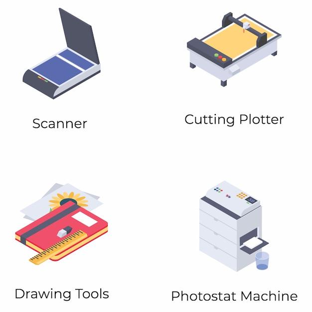 Печать изометрических векторов Premium векторы