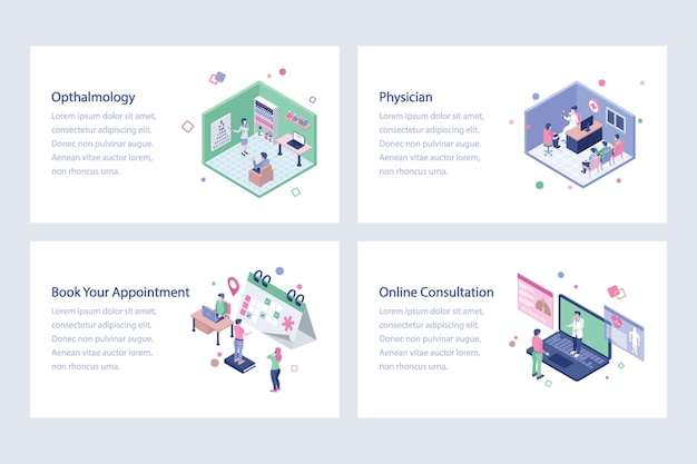 医療およびヘルスケア等角投影図 Premiumベクター