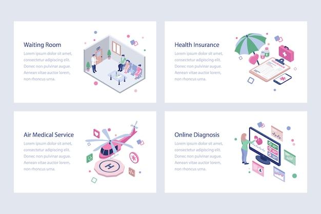 医療とヘルスケアのイラストのセット Premiumベクター