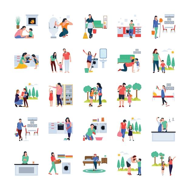 家族、主婦、屋外フラットベクトルを歩く家族 Premiumベクター