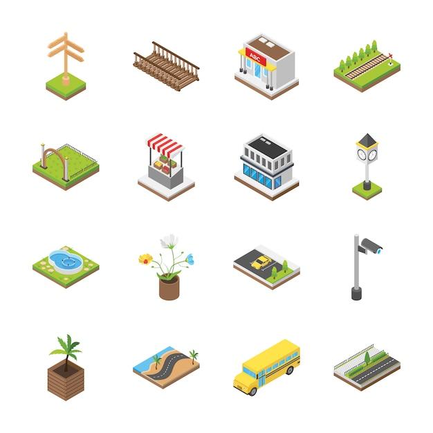 都市の景観建築アイコン Premiumベクター