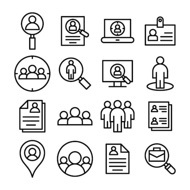 Пакет иконок для идентификации линии Premium векторы