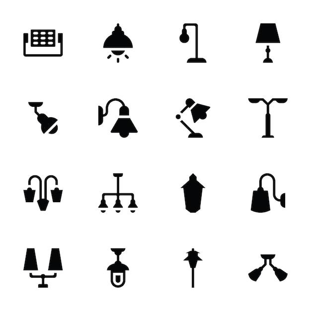 Подвесные светильники и светильники иконки Premium векторы
