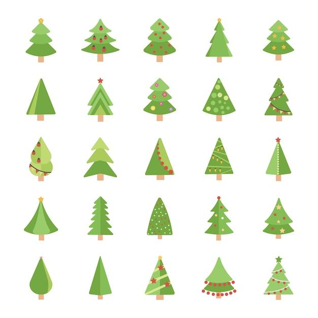 Рождественские елки плоские векторные иконки Premium векторы