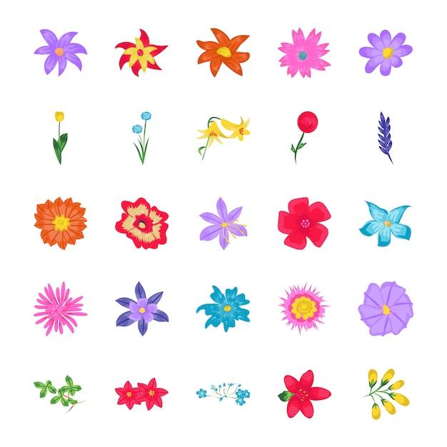 Цветы плоские векторные иконки Premium векторы