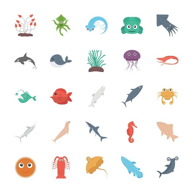 海洋生物のベクトルを設定 Premiumベクター