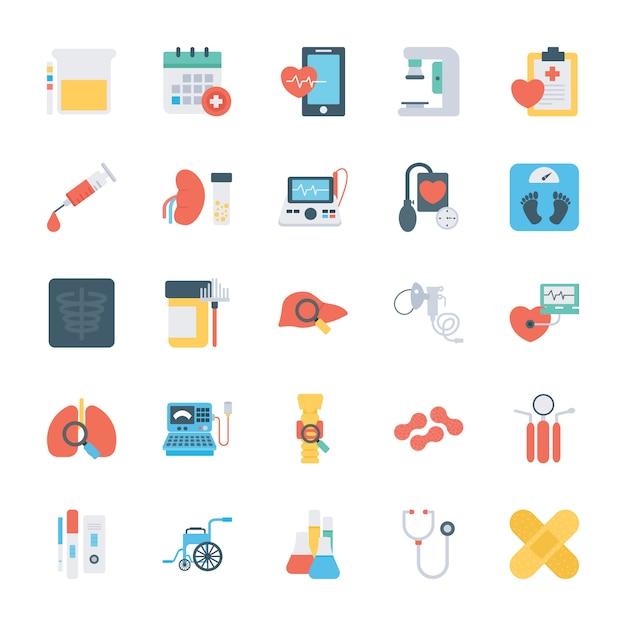 Плоские значки проверки здоровья Premium векторы