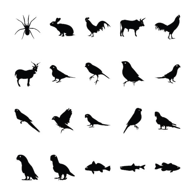 Коллекция пиктограмм животных джунглей Premium векторы
