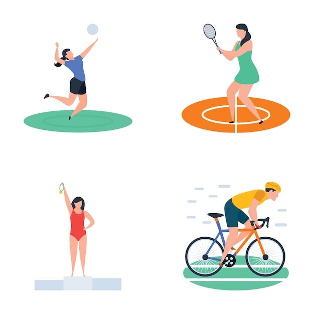 クリケット、ホッケー、スポーツ選手のアイコンのパック Premiumベクター