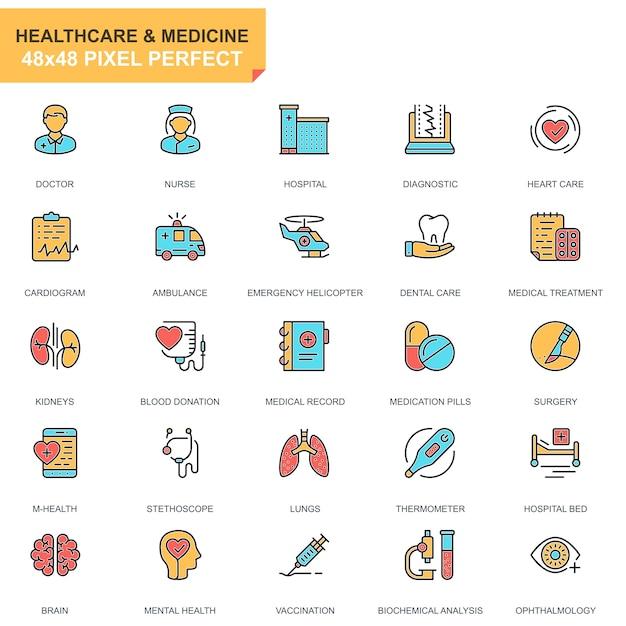 フラットラインヘルスケアと薬のアイコンが設定されています Premiumベクター
