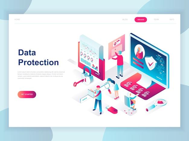 データ保護の最新のフラットデザインの等尺性の概念 Premiumベクター