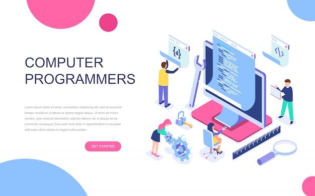 コンピュータープログラマーの現代フラットデザイン等角投影概念 Premiumベクター